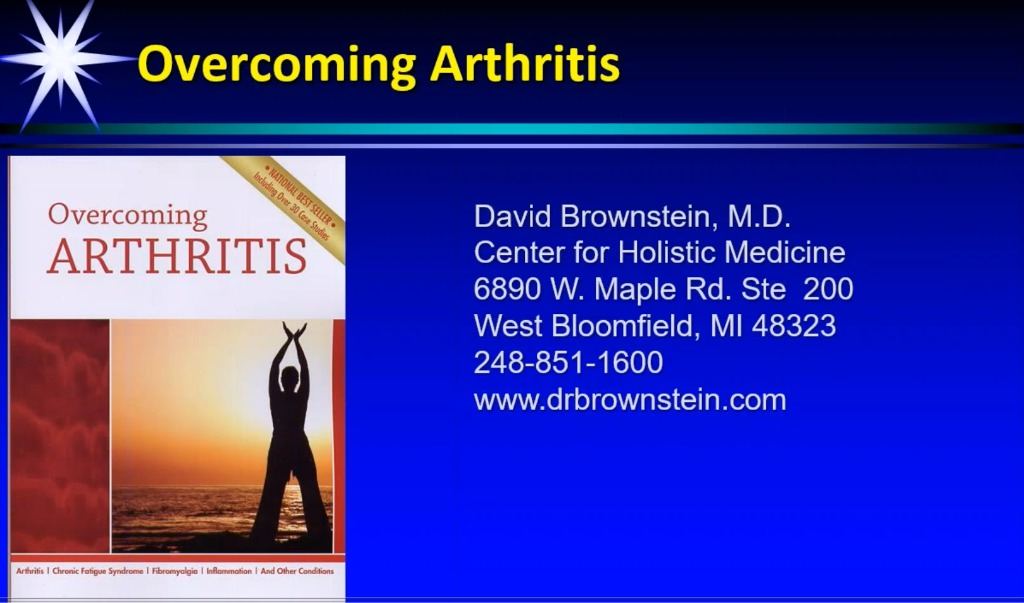 overcoming arthritis david brownstein