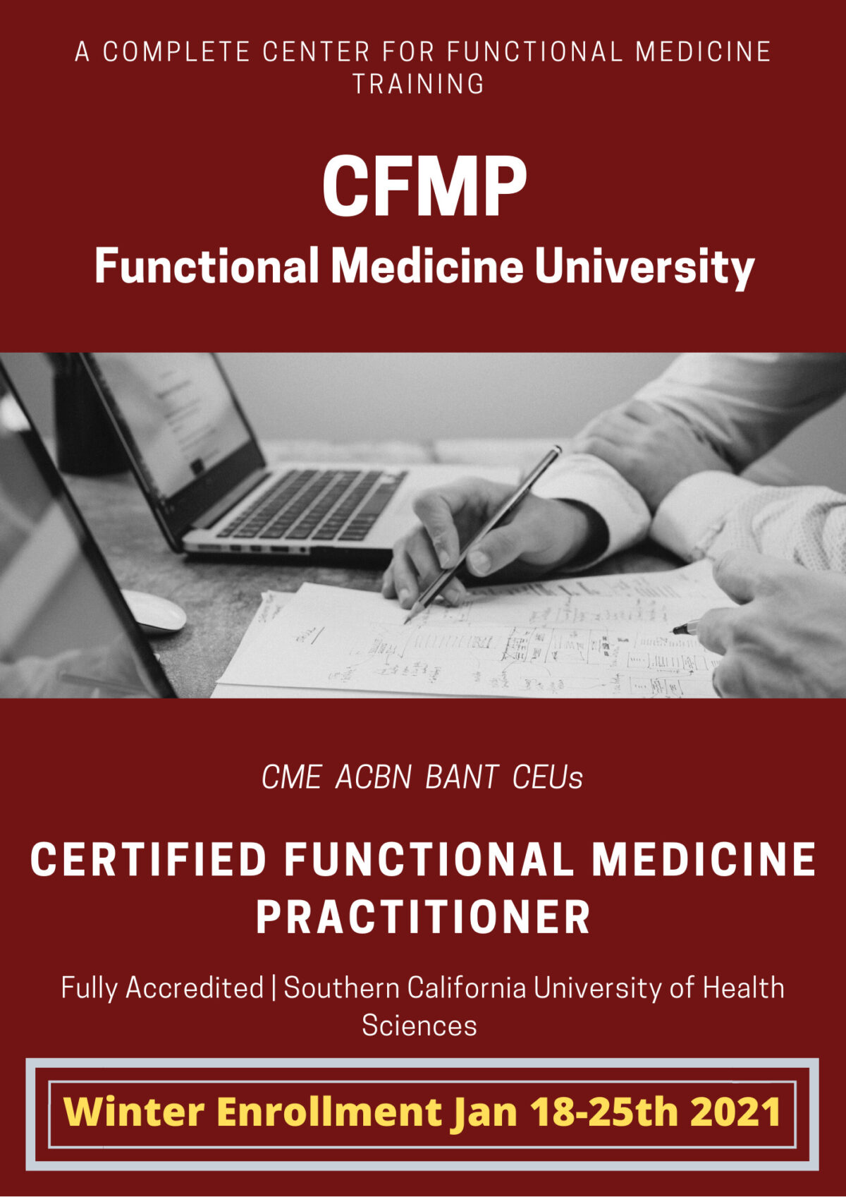 Winter Enrollment for the CFMP Certified Functional Medicine Practitioner Course at FMU